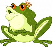 Clip Art of a Frog Prince waiting to be kissed