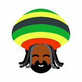 Постер, плакат: Rastaman Avatar Rasta Cap And Dreadlocks Sign Rastafarianin Jamaican Reggae Red Eyes From Cannab
