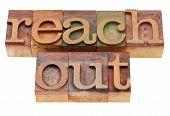 Reach Out Phrase In Letterpress Type