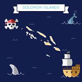 Постер, плакат: Flat Treasure Map Of Solomon Islands Colorful Cartoon With Icons Of Ship Jolly Roger Treasure Che