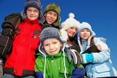 pic of family fun  - Five winter kids - JPG