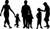 pic of mother child  - Black silhouette of three families moms dads and children - JPG