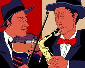 Vector Illustration Of Two Musician