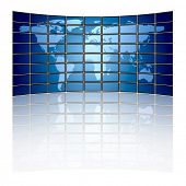 Large tv panel compound by a lot of screens displaying the world map