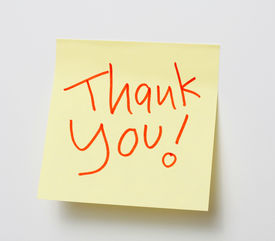 stock photo of thank you note  - Yellow note - JPG