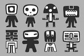 Monsters, characters set. vector illustration.