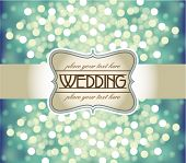 Amazing Wedding invitation on blue glittering background