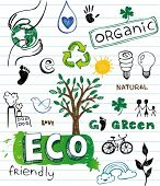 stock photo of environment-friendly  - Eco friendly Doodles - JPG