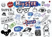 stock photo of emo-boy  - Hipsters doodle set - JPG