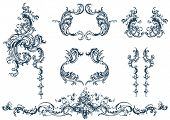 Decorative vector elements, rococo style