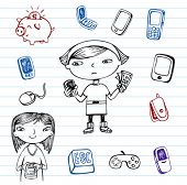 Mobile communication, Hipsters doodle set