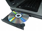 Dvd Rom On A Laptop Opened To Show Disc. Isolated.