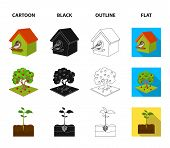 Garden, Farming, Nature And Other  Icon In Cartoon, Black, Outline, Flat Style. Plant, Root, Stem Ic poster