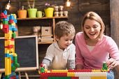 Mothers Day Concept. Mother And Son Play With Toy Bricks On Mothers Day. I Have Mothers Day Everyday poster