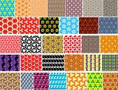 32 different colorful seamless vector pattern.