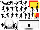Soccer Players Silhouettes - Vector