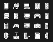 Device Silhouette Icons Set. Isolated Web Sign Kit Of Gadget. Electronics Monochrome Pictogram Colle poster