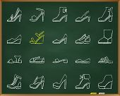 Shoes Chalk Icons Set. Grunge Outline Web Sign Kit Of Footwear. Fashion Linear Icon Collection Inclu poster