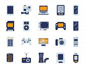 Device Flat Icons Set. Web Sign Kit Of Gadget. Electronics Pictogram Collection Includes Smartphone, poster
