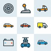 Automobile Icons Colored Line Set With Carwash, Crossover, Prime-mover And Other Level  Elements. Is poster