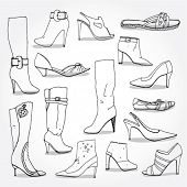 Set of Hand Drawn Women's Shoes Outline