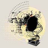 gramophone on grunge background