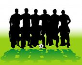 Soccer team silhouettes - vector illustration!