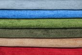 Textile Samples For Curtains. Multicolored Fabric Texture Samples. Choice Of Fabric For Home Interio poster