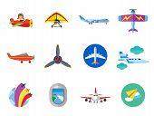 Plane Icon Set. Air Show Paper Plane Flying Aeroplane Airplane Propeller Big Aircraft Jet Plane Kids poster