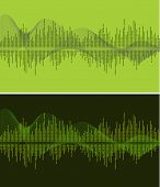 music wave- vector illustration- green