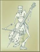 cello player - line drawing -vector