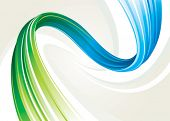 Abstract flowing background of blue and green twisted, vector layered.
