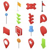 Map Pointer Pin Arrow Compass Icons Set. Isometric Illustration Of 16 Map Pointer Pin Arrow Compass  poster