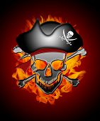 Pirate Skull Captain With Flames Background