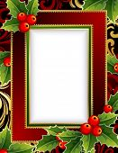 Vector illustration -Christmas frame with holly