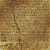 Ancient Egyptian Hieroglyphics on Wall with Crack