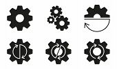 Gears, Cogs Or Sprocket Set. Gear Wheels With Arrows. Vector Illustration. poster