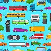 Traffic Jam Vector Transport Car Vehicle And Bus In The Rush Hour On Highway Road Vector Illustratio poster