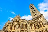 Back Side Of Sacre Coeur Basilica De Montmartre In A Beautiful Sunny Day With Blue Sky. Sacred Heart poster