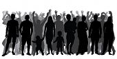 Silhouettes Of People In Full Growth, Crowd. Cheerful People. Vector poster