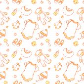 Illustration Of Baby Related Things In Pattern. Baby Items Pattern For Website Babygro, Bib, Bootee, poster