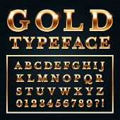 Golden Letters With Gold Shine Metal Gradients. Shiny Alphabet Letter Rich Text And Type Numbers Ser poster