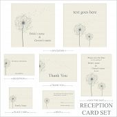 vector dandelion reception cards set...
