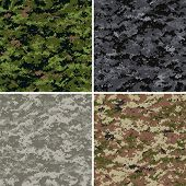 foto of camo  - digital camouflage seamless patterns  - JPG