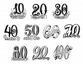 Anniversary Numbers Year Sketch Lettering For Birthday Greeting Card Design. Vector Isolated Calligr poster