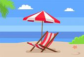 Seaside And Hammock-chair Under Umbrella, Palm Tree Leaves Seastar On Hot Sand, Seascape View, Backg poster