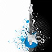 Guitar on a black-and-white background