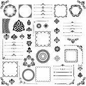 Vintage Set Of Vector Horizontal, Square And Round Elements. Black Elements For Design, Frames, Card poster