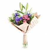 A Beautiful Bouquet Of  Blooming Flowers Wrapped In Paper In Crystal Glass Isolated On White Backgro poster