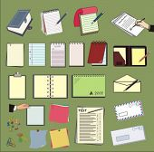 a set of vector paper supplies, stationery equipment